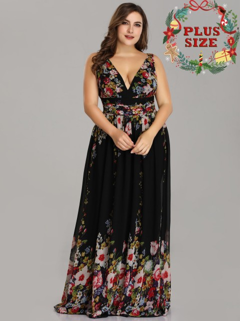 Chiffon Sexy Double V-Neck Floral Printed