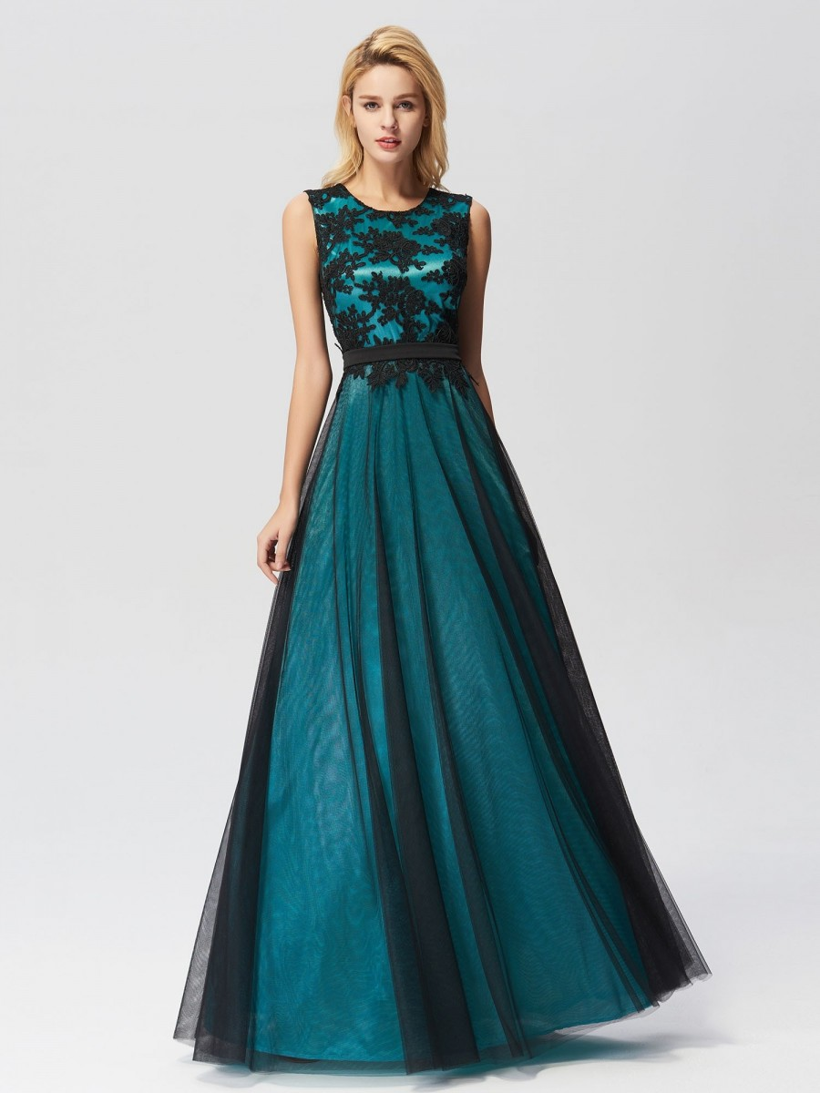 Elegant A Line Sleeveless Long Evening Dress With Appliques