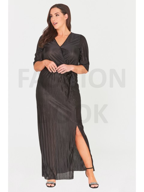 WRAP-EFFECT PLEATED MAXI DRESS